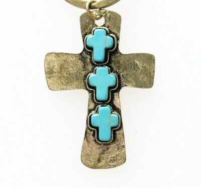 6 Cross Charms/Pendants Antiqued Faux Turquoise Large