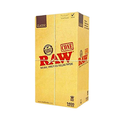 Raw Classic Natural Unrefined Rolling Papers Cone Bulk King Size - 1400 Per Box