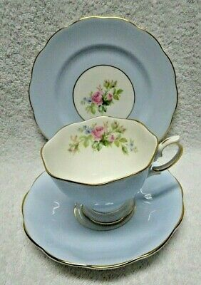 Royal Albert Blue Wash  Pink Rose Stencil Cup Saucer And Side Plate 3 piece set