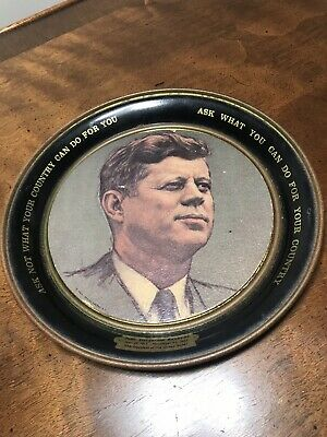 President john f kennedy Jfk Tin Round Plate Wall Hanging Art Quote Memorial