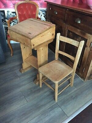 Vintage Wooden Small School Children's Desk and Chair