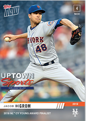Jacob deGrom - MLB TOPPS NOW® Card OS-17 - FINALIST 2019 NL CY YOUNG AWARD