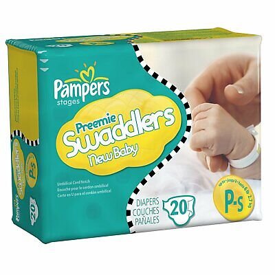 Pampers Preemie Swaddlers Tab Closure Newborn Disposable Diaper Up to 6 lb 20/BX