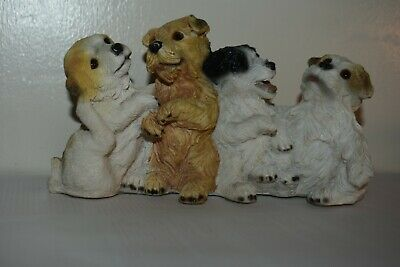 "Dogs and ornaments - latex mould mold of 4 little dogs 7"" x 4"" x 2.5"""