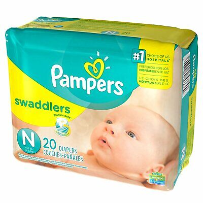20 Baby Diaper Pampers Swaddlers Tab Closure Newborn Disposable Heavy Absorbency