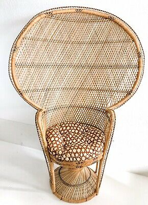 Awesome Vtg Mcm Rattan Wicker Peacock Chair 5 Fan Back Throne Uwap Interior Chair Design Uwaporg