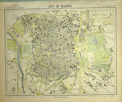 1882 Letts Map City Of Madrad Plan Park Hosital Telegraph Office Royal Palace