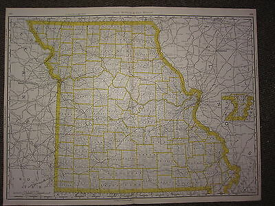 1890 Large Map ~ Missouri State County Railroad ~ Excellent Condition Mcnally