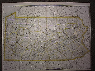 1890 Large Map ~ Pennsylvania State County Railroad Excellent Condition Mcnally