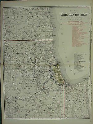 1922 Large America Map ~ Chicago District Steam Railways Electric Lines Mcnally