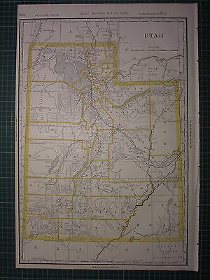 1890 Large Map Utah ~ State County Railroad Excellent Condition Rand Mcnally