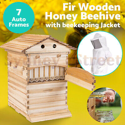 Wooden Beekeeping Beehive House + 7PCS Upgraded Auto Honey Bee comb Hive Frame