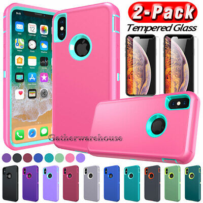 For Apple iPhone XS Max XR X Case Shockproof Armor Bumper Cover + Tempered Glass