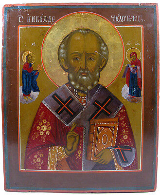 c.1870 ANTIQUE RUSSIAN ORTHODOX RELIGIOUS ICON ST NICHOLAS WONDERWORKER OF MYRA