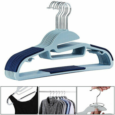 Drying Seamless Strong Plastic Suit Coat Hangers Non-Slip, Trouser & Tie Bar 10x