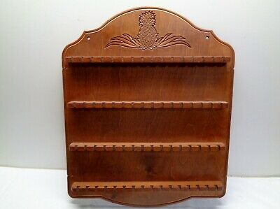 Vintage Decorative Wooden 48 Spoon Collector Wall Racks Display Holder PINEAPPLE