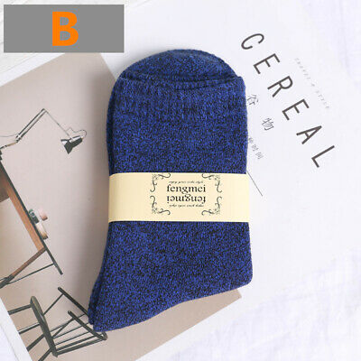 Womens Mens Business Cotton Ankle Socks Plain Winter Thick Warm Classic Blue