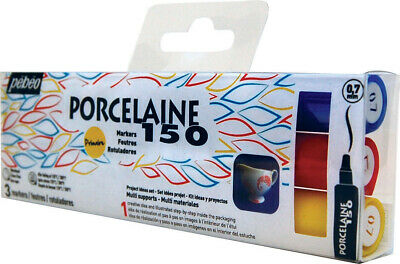 Pebeo Porcelaine 150 Marker Set of 3 Primary Colours with 0.7mm Fine Point Nibs