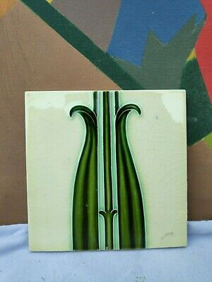 1940s Embossed Majolica Leaf Art Nouveau Architecture/Furniture Tile,Japan