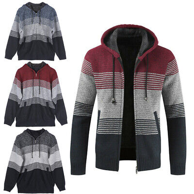 XL-3XL Winter Hoodies Top Mens Premium Stand Collared Full Zip Cardigan Knitted