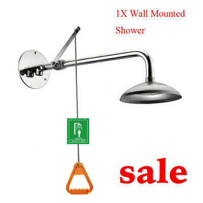 Industry Stainless Steel Emergency Shower Eye Washer Wall Mounted Chemical DHL