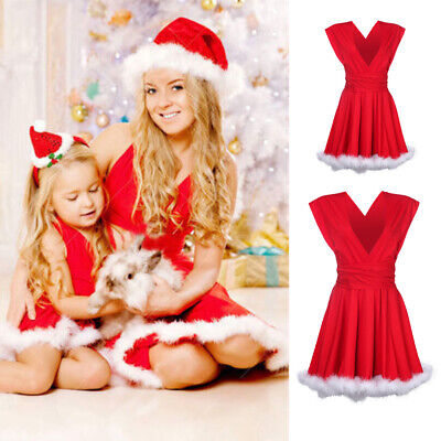 AU Christmas Family Matching Mother&Daughter Xmas Swing Dress Outfits Kids Dress