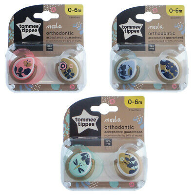 Tommee Tippee Night Time Soother Twin Pack A163 6-18m Choice of Design
