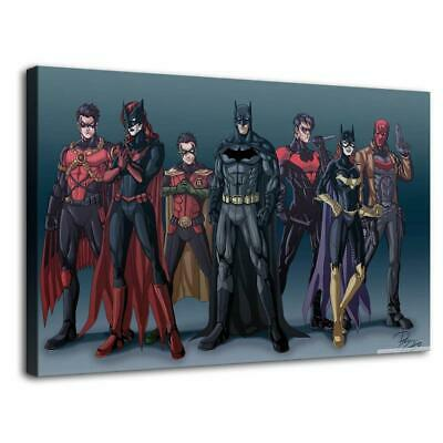 "12""x20""Batman family HD Canvas prints Painting Home Decor Picture Room Wall art"