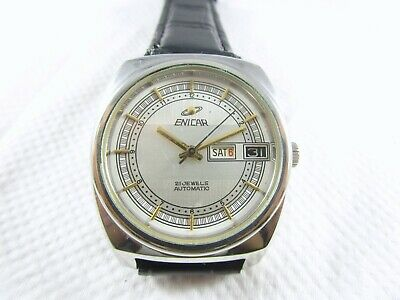 VINTAGE ENICAR Automatic 21 JEWELS Day-Date Swiss Made Watch #V425