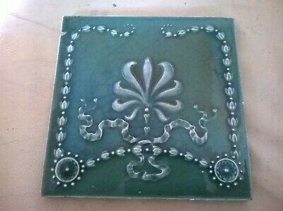 Victorian Antique  Majolica Tile Circa 1890.