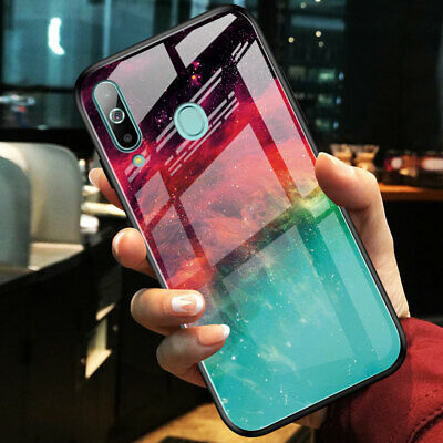 Hybrid Tempered Glass Hard Back Case Cover for Samsung Galaxy A50 A70 A7 2018