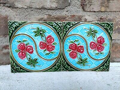 1940s DK Marked Swirl Floral Embossed Architecture/Furniture Tile,Japan-Set of 2