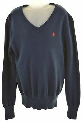 POLO RALPH LAUREN Boys V-Neck Jumper Sweater 10-11 Years Medium Blue  LN06