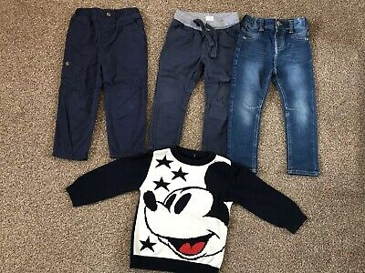 Boy's Trousers (3 Pairs) & Next Mickey Mouse Jumper, 18-24 Months - Used