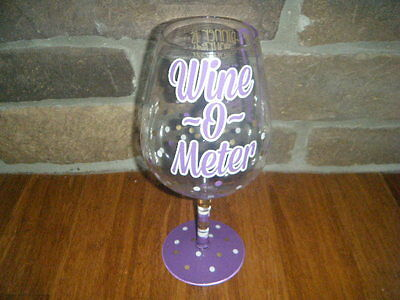 Giant Large Wine Glass Holds 64 Oz Wine-O-Meter Cool Party Purple Polka-Dots Htf