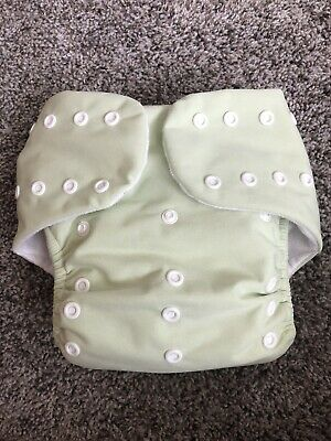 Knicker Nappies Cloth Diaper Snaps Green ONE SIZE  2 Inserts