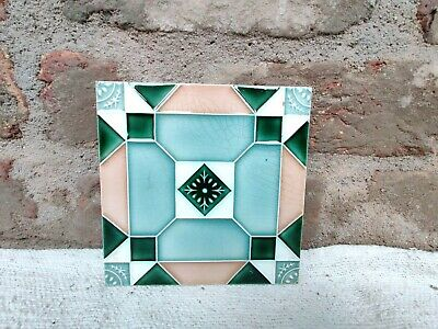 1940s  Majolica Decorative Art Nouveau Architecture / Furniture Tile , Japan