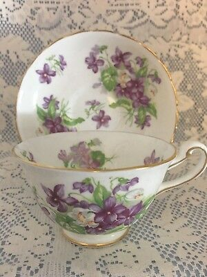 Royal Chelsea Fine Bone China, Purple Violets, Cup & Saucer, Made in England