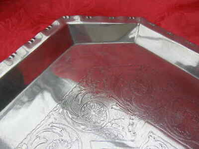 Unusual Heavy Antique Silver Plate EPNS Serving Tray / Drinks Tray Engraved
