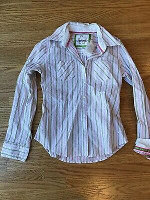 "Girls Size 12 Limited Too Pink Striped Long Sleeve blouse shirt NWT ""CLEARANCE"""