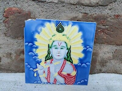 1940s Lord Krishna Nouveau Embossed Architecture / Furniture Tile , Japan