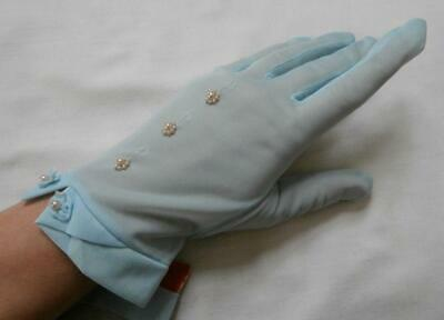 BN Vintage 1950's Light Blue Silky Nylon Beaded Gloves Size 7 1/2-8 L-XL Narrow