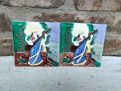 1940s Goddess Saraswati Nouveau Embossed Architecture/Furniture Tile Pair, Japan