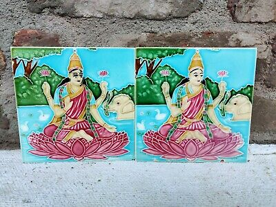 1940s Goddess Lakshmi Nouveau Embossed Architecture/Furniture Tile Pair , Japan