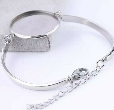 3 Bracelet blank round Stainless steel bangle setting 25mm cabochon jewellery