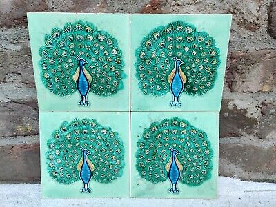 1940s 4 Pcs Embossed Peacock Design Nouveau Architecture/Furniture Tiles , Japan