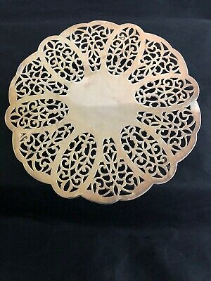 """Vtg Wm Rogers 6.5"""" Silverplate Cutout Footed Trivet"""