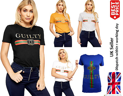 Ladies Women Celeb Inspired Tops T-Shirt Casual Slogan Design Tee Plus Size 8-26