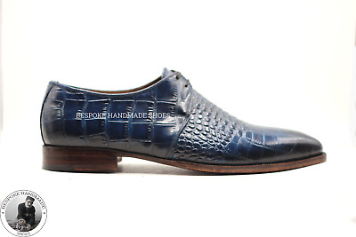 Handmade Men's Navy Blue Crocodile Print Lace Up Derby Shoes