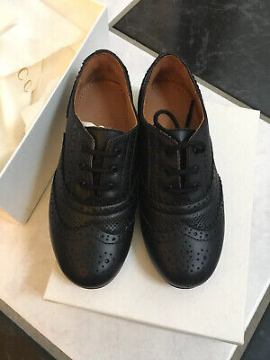 NIB 100% AUTH Gucci Kids Black Leather Lace Up Oxford GG logo 388805 $398